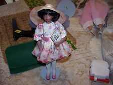 African American Doll Porcelain 1993 Sunday Best My First Bible + Stand
