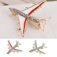Rhinestone Crystal Aircraft Airplane Jet flight Brooch Pin Women Men Jewelry