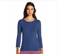 Calvin Klein Women's Coastal Blue Comfort Cotton 3/4 Sleeve Top, Size Large