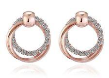Rose Gold Plated 3 Hoop Stud Drop Crystal Circle Infinity Earrings UK Seller