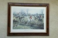 "George Wright "" Full Cry through the Homestead"" Equestrian Vintage wooden frame"