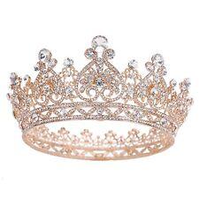 Prom Gold King Queen Crystal Hearts Tiara Headband Wedding Rhinestone Crown Full