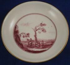 18thC Meissen Porcelain Puce Scenic Yellow Ground Saucer Porzellan Untertasse