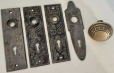 Four Vintage Keyhole Plates And A Vintage Doorknob