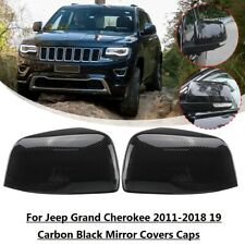 Pair Carbon Black Side Mirror Cover Caps For Jeep Grand Cherokee 2011-2018 2019
