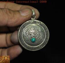Old Tibetan Buddhism Tibet silver Inlay turquoise gem beast head amulet Pendant