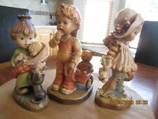 Vtg Anri Handcarved Wood Figurines L.E. Finding Our Way,Flowers 4U,Little Mother