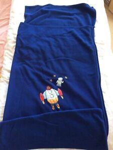 Fleece Camping Sleeping Bag/Sack Blue Rocket & Star Zip Inner Liner In/Outdoor