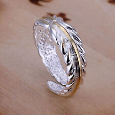 Ring Gold Leaf Thumb Ladies 925 Sterling Silver Feather Adjustable Wrap Band