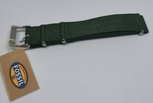 18mm Watch Band Strap Fossil watches Military Green Nylon Woven 3 Rings NWT