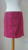 BNWT(£12) GEORGE G21  HotPink+Black Print Fixed Wrap Stretch Short Skirt Size 10