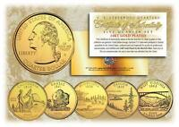 2005 GOLD U.S. Mint State Quarters * Complete Set of 5 Coins * with Capsules