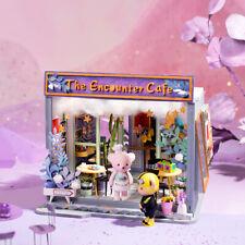 Robotime Teddy Bear Wooden Dollhouse DIY Cafe Shop Miniature Furniture Gift Girl