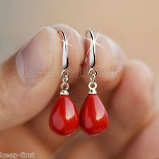 Fashion 12x16mm Natural Coral Red South Sea Shell Pearl Drop Earrings AAA