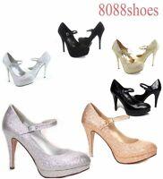 Women's Sexy Glitter Bridal Platform Round Toe Dress High Heel Sandal Pump Shoes