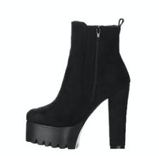 Black Platform Chunky Heel Suede Boot