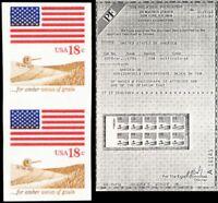 1890b, MNH 18¢ Flag Vertical Pair Imperforate Horizontal ERROR PFC - Stuart Katz