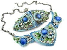 Vintage CORO Enamel Flower Necklace Duette Brooch Set 1940s Signed Blue Moonglow