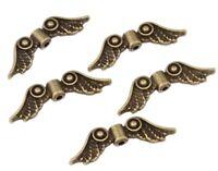 10 Engel Flügel Anhänger Metall 23x7mm Bronze Vintage Schmuckdesign BEST M459