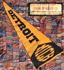 VINTAGE 1920s CROWLEY-MILNER DETROIT, MICHIGAN WOOL FELT PENNANT -SEWN LETTERS