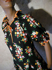 CHIC VINTAGE TOP ROBE POP 70s DRESS VTG ANNEES 70 MOD GRAPHIC ABITO  (36/38)