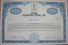 Specimen Stock Certificate: 'Fetzer Communications, Inc.' Radio/Tv - Blue