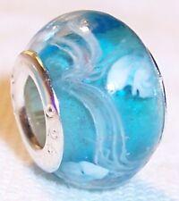 Aqua Blue White Pattern Murano Glass Bead fits Silver European Charm Bracelets