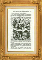 """ORIGINAL-Alice and the Caterpillar Art Print on """"Alice in Wonderland"""" Book Page"""