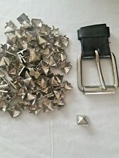 "90 Silver Square 12mm Pyramid Studs and Sliver Belt Buckle 2.5 x 2.25"" Goth Punk"