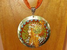 UNIQUE hand painted Black Lip SHELL pendant MUCHA Byzantine Head BLONDE signed