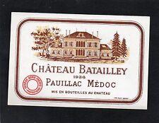 PAUILLAC 5EME GCC VIEILLE ETIQUETTE CHATEAU BATAILLEY 1936 RARE    §07/03/18§