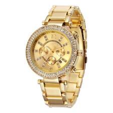 Luxus Damenuhr Gold Strass Kristallen Armbanduhr Watch Geschenk  U1237