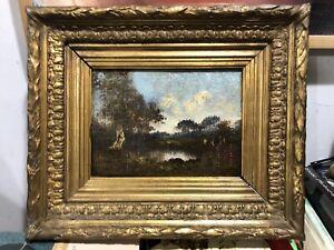 NARCISSE DIAZ DE LA PENA-French Barbizon-Original Signed Oil-Landscape With Pond