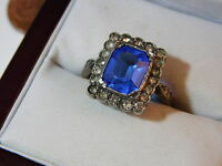 Victorian Silver 9c White Gold Synthetic Blue Sapphire Cocktail Ring 11e 21