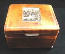 VINTAGE SWISS REUGE TRINKET/MUSIC BOX WITH INSET PICTURE FAUX LEATHER  COVERING
