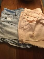 New Look Yes Yes Peach & Blue Striped Jean Shorts X2 Size 8