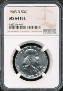1963-D Franklin Half Dollar NGC MS 64 FBL Full Bell Lines! Blast White!