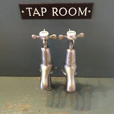 Refurbished Antique Nickel Basin Taps Vintage - New Washers Ready To Fit.  L73