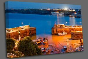 Night shot of Newquay Harbour Cornwall England uk Canvas Wall Art Picture Print