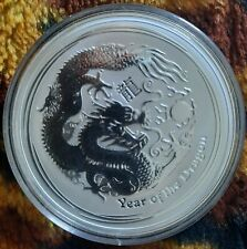 More details for 4 x 2 oz 2012 australian lunar year of the dragon silver coins in capsules