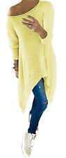 Damen Schulterfrei Longshirt Strick-Pullover Tunika Assymetrisch Streetwear 659