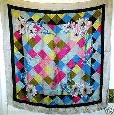 Vintage Rosa Negro y Azul Seda Bufanda Cuello ~ ~ ~ ~ Cuadrado Envolvente Bufandas # 304