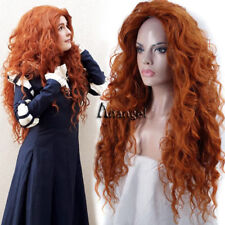 Pixar Animated Brave Merida Cosplay Wig Orange Long Fluffy Wigs for Kids Adult