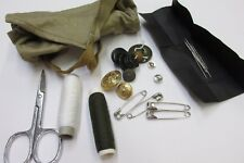 Vintage Italian Military Field Sewing Repair Kit Scissors Thread Buttons Needles