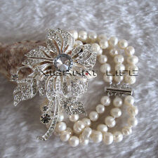 """8"""" 5-7mm White 3Row Freshwater Pearl Bracelet Magnetic Clasp X2844 UE"""