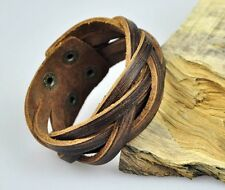 K72 Cool Plain Single Band Braided Leather Bracelet Wristband Cuff Vintage BROWN
