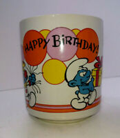 Vintage Smurfs 1981 Happy Birthday Coffee Mug Cup Wallace & Berrie 8 Oz