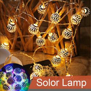 30/50LED Moroccan Solar Garden String Lights Hanging Lantern Fairy Light Indoor