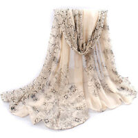 Fashion Women's Long Soft Wrap Lady Shawl Chiffon Silk Scarf Scarf Scarves Beige