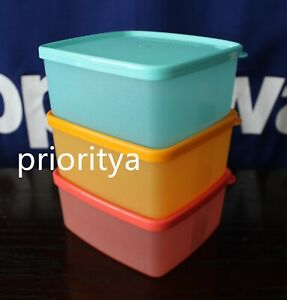 Tupperware Small Freezer It Square Rounds 400ml Container Set of 3 Color New